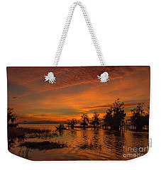 Blue Cypress Sunrise With Boat Weekender Tote Bag