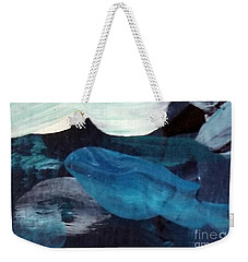 Weekender Tote Bag featuring the painting Blue Fish by Maria Langgle