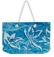 Blue Floral Weekender Tote Bag