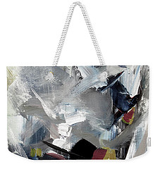 Weekender Tote Bag featuring the painting Blue Grey by John Jr Gholson