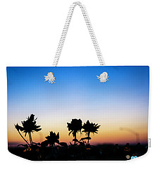 Blue Hour Sunset With Flowers Weekender Tote Bag