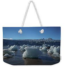 Blue Icebergs Floating Along Storm Arctic Coast Panorama Weekender Tote Bag