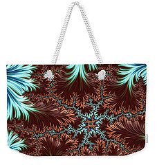 Weekender Tote Bag featuring the digital art Blue Palm Oasis Abstract Fractal Landscape by Shelli Fitzpatrick