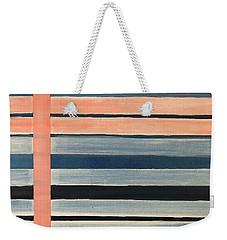 Blue Peachy Stripes Weekender Tote Bag