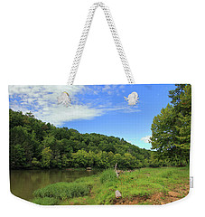 Weekender Tote Bag featuring the photograph Blue Sky At Cumberland River by Angela Murdock