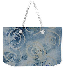 Weekender Tote Bag featuring the drawing Blue Spirals by AJ Brown