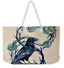 Weekender Tote Bag featuring the painting Blue Thorn Raven by Camille Rendal