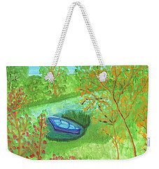 Weekender Tote Bag featuring the painting Boat In A Quiet Backwater by Dobrotsvet Art