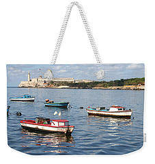 Weekender Tote Bag featuring the photograph Boats In The Harbor Havana Cuba 112605 by Rick Veldman
