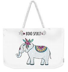 Boho Spirit Elephant - Boho Chic Ethnic Nursery Art Poster Print Weekender Tote Bag