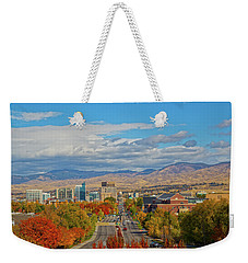 Weekender Tote Bag featuring the photograph Boise In Fall by Dart and Suze Humeston
