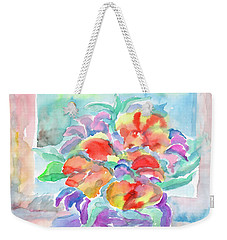 Weekender Tote Bag featuring the painting Bouquet Of Flowers by Dobrotsvet Art