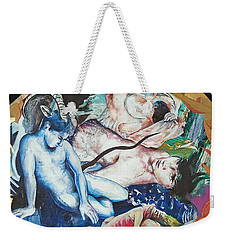 Weekender Tote Bag featuring the painting Boys Dripping In Monatomic Gold by Rene Capone