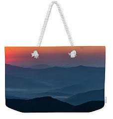 Weekender Tote Bag featuring the photograph Brasstop Bald Sunrise Panorama by Andy Crawford