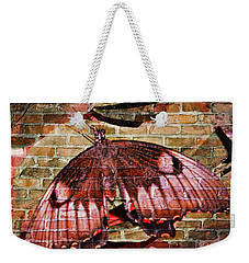 Weekender Tote Bag featuring the mixed media Brick In The Wall by Sabine ShintaraRose