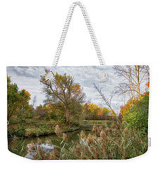 Weekender Tote Bag featuring the photograph Bridge Over Ellicott Creek by Guy Whiteley