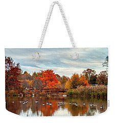 Weekender Tote Bag featuring the photograph Bridge Over The Pond by Mark Dodd