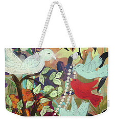 Weekender Tote Bag featuring the painting Bringin' Momma Beads by Robin Maria Pedrero