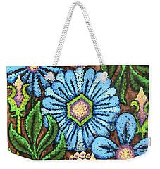 Brown And Blue Floral 1 Weekender Tote Bag