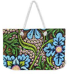 Brown And Blue Floral 2 Weekender Tote Bag