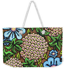 Brown And Blue Floral 3 Weekender Tote Bag