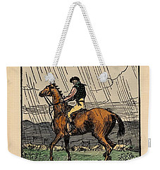 Weekender Tote Bag featuring the painting Brown Stallion, Omey by Val Byrne