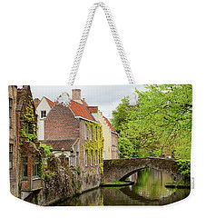 Weekender Tote Bag featuring the photograph Bruges Footbridge Over Canal by Nathan Bush
