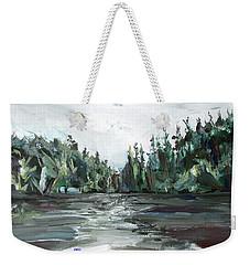 Weekender Tote Bag featuring the painting Burton Lake by John Jr Gholson