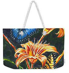 Butterflies And Flowers Sketch Weekender Tote Bag