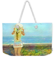 Weekender Tote Bag featuring the pastel By The Sea by Chris Armytage