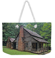 Weekender Tote Bag featuring the digital art Cabin In The Woods - Fractals by Ericamaxine Price
