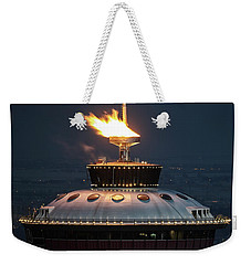 Weekender Tote Bag featuring the photograph Calgary Tower - 2014 Olympic Torch by Brad Allen Fine Art