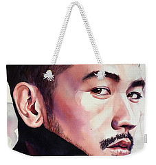 Weekender Tote Bag featuring the painting Calm Confidence by Michal Madison
