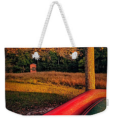 Weekender Tote Bag featuring the pyrography Canoes And A Boathouse by Rachel Hannah