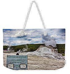 Weekender Tote Bag featuring the photograph Castel Geyser In Yellowstone May Erupt by Tatiana Travelways