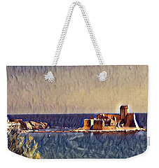 Weekender Tote Bag featuring the digital art Castle In Sea by Lucia Sirna