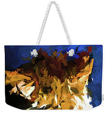 Cat And The Cobalt Blue Wall Weekender Tote Bag