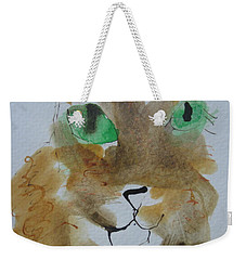 Weekender Tote Bag featuring the drawing Cat Face Yellow Brown With Green Eyes by AJ Brown