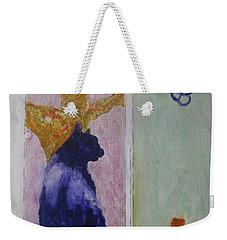 Weekender Tote Bag featuring the painting cat named Seamus by AJ Brown