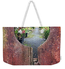 Weekender Tote Bag featuring the painting Check In Here by Val Byrne