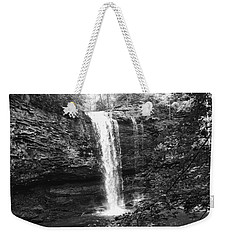 Weekender Tote Bag featuring the photograph Cherokee Falls Bnw by Rachel Hannah