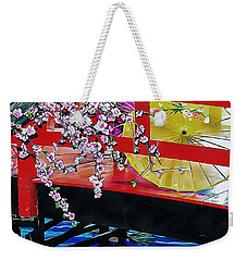 Weekender Tote Bag featuring the photograph Cherry Blossom Bridge by Dorothy Berry-Lound