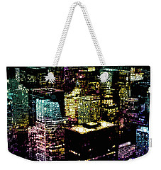 Weekender Tote Bag featuring the mixed media Chicago City Lights by Susan Maxwell Schmidt