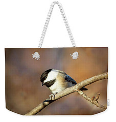 Weekender Tote Bag featuring the photograph Chickadee by Sue Collura