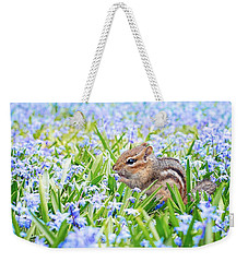Chipmunk On Flowers Weekender Tote Bag