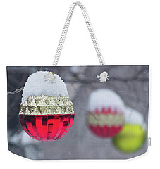 Weekender Tote Bag featuring the photograph Christmal Balls Outside Covered By Snow - Snowy Winter Scene by Cristina Stefan