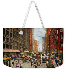 Weekender Tote Bag featuring the photograph City - Chicago Il - Marshall Fields Company 1911 by Mike Savad