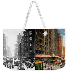 Weekender Tote Bag featuring the photograph City - Chicago Il - Marshall Fields Company 1911 - Side By Side by Mike Savad