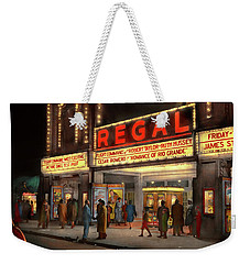Weekender Tote Bag featuring the photograph City - Chicago Il - Nightlife At The Regal Theater 1941 by Mike Savad