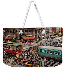 Weekender Tote Bag featuring the photograph City - Dc - Road Closed For Repairs 1941 by Mike Savad